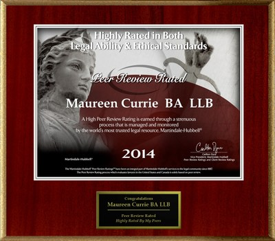 Attorney Maureen Currie has Achieved a Peer Review Rating™ from Martindale-Hubbell(R).