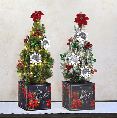 """The Be Merry Christmas Tree is available in natural and """"snow"""" frosted"""