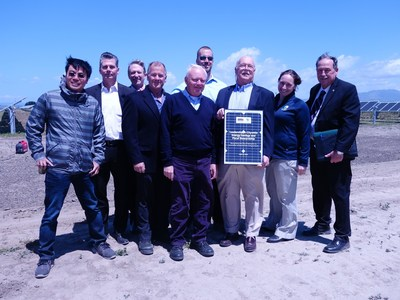 City of Salinas leaders including Mayor Joe Gunther, Director of Public Works Gary Petersen, and Council Member Mark Zanko celebrate $22 million in savings from energy program with OpTerra team members at Monday's dedication event.