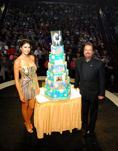 The Mirage Hotel & Casino headliner Terry Fator and wife Taylor Makakoa celebrate Fator's new deal with the  ...