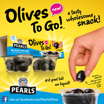 New Pearls(R) Olives to Go! Snack Cups: Olives Ready to Go When You Are.  (PRNewsFoto/Musco Family Olive Co.)