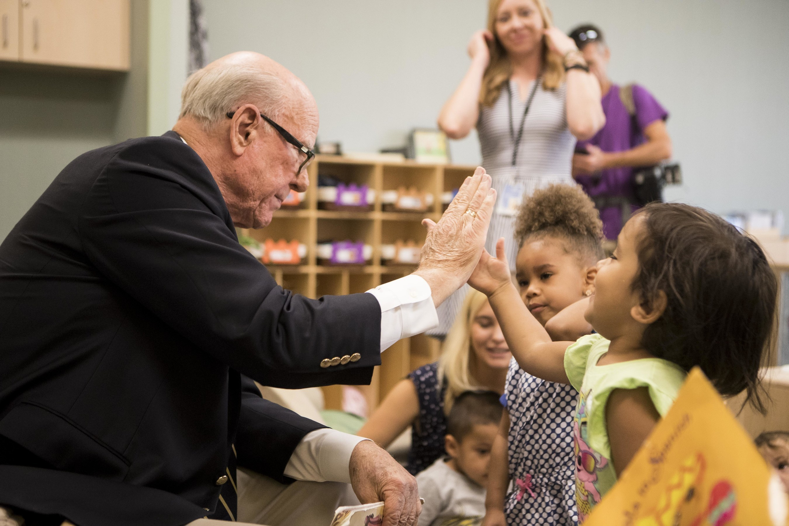 Sen. Pat Roberts (R-KS) reads to preschoolers at Children's Campus of Kansas City (CCKC), where nonprofits offer a continuum of education, family and health services focused on kids from birth to age five. Sen. Roberts met with CCKC staff to learn why facilities tailored to young learners are so important to their future, and why programs like the federal New Markets Tax Credit are so critical to building them.
