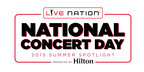 LIVE NATION ANNOUNCES MAY 5, 2015 AS FIRST-EVER NATIONAL CONCERT DAYCELEBRATES THE SUMMER CONCERT SEASON WITH 2015 SUMMER SPOTLIGHT EVENT PRESENTED BY HILTON	SPECIAL LIVE CONCERT & MEDIA EVENT TO BE HELD IN NEW YORK CITY ON MAY 5, 2015 FEATURING KID ROCK, FLORIDA GEORGIA LINE, BILLY CORGAN OF THE SMASHING PUMPKINS, WIZ KHALIFA, BRANDON BOYD & MIKE EINZIGER OF INCUBUS, RAE SREMMURD, TINASHE, KIP MOORE, MICK JONES OF FOREIGNER, METRIC, JASON WADE & BRYCE SODERBERG OF LIFEHOUSE AND HOSTED BY HODA KOTB OF THE TODAY SHOW