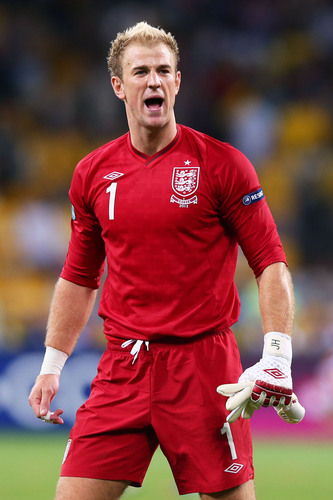 Joe Hart, football goalkeeper for English Premier League club, Manchester City, and Team England performing in ...