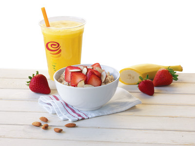 Jamba Juice and The Quaker Oats Company are celebrating National Oatmeal Day (October 29th) by encouraging customers nationwide to start their mornings off right with a hearty, nutritious, bowl of Jamba Juice(r) Steel-Cut Oatmeal. Slow cooked with 100% organic steel-cut oats, Jamba Juice's Steel-Cut Quaker Oatmeal offers a variety of premium toppings that customers can mix and match to their liking.