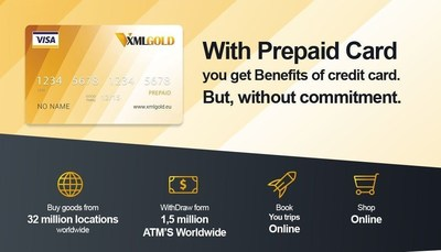 With XmlGold Visa prepaid debit card you get the benefits of a credit card but without commitment. (PRNewsFoto/XMLGold)