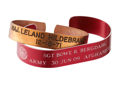 Brass POW Bracelet for Prisoner Of War during the Vietnam War, and Red Anodized Aluminum POW Bracelet for Sgt. ...