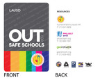 "More than 30,000 educators, administrators and other staff of the L.A. Unified School District, the second largest school district in the nation, will begin wearing these badges to publicly identify themselves as LGBT allies. The ""Out for Safe Schools"" initiative, proposed and developed by the L.A. Gay & Lesbian Center's Project SPIN (Suicide Prevention Intervention Now) will make LGBT students feel safer and more welcome and send an important message of acceptance to all students.  (PRNewsFoto/L.A. Gay & Lesbian Center)"