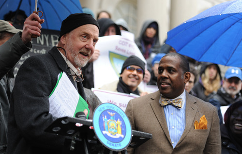 Steve Coe, CEO of Community Access, Inc., with State Senator Kevin Parker at City Hall. (PRNewsFoto/Community ...