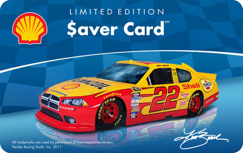 Limited edition racing-themed Shell Saver Card featuring the No. 22 Shell-Pennzoil Car.  (PRNewsFoto/Shell Oil ...