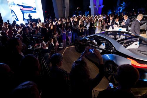 Benoit Jacob, Head Designer of BMW i, addresses a crowd at Art Basel Miami Beach at the Sustaethics Event ...