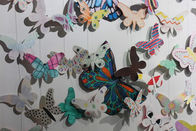 Handmade butterflies displayed as part of Holocaust Museum Houston's Butterfly Project in the Rick Smith Gallery at Memorial Hermann-Texas Medical Center.