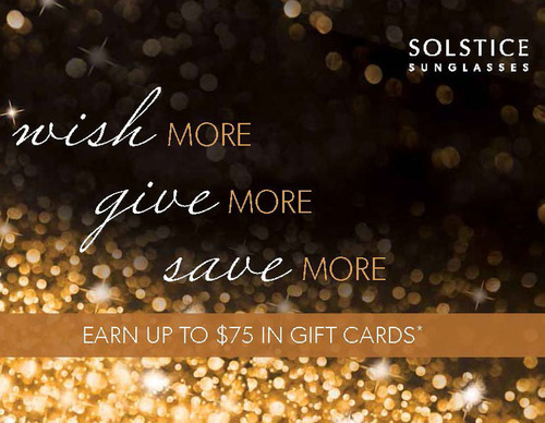 """A visual from the SOLSTICE Sunglasses """"Wish More, Give More, Save More"""" holiday promotion which kicks ..."""