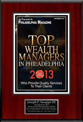 "Joseph P. Sarappo, III Selected For ""Top Wealth Managers In Philadelphia 2013"".  (PRNewsFoto/American Registry)"