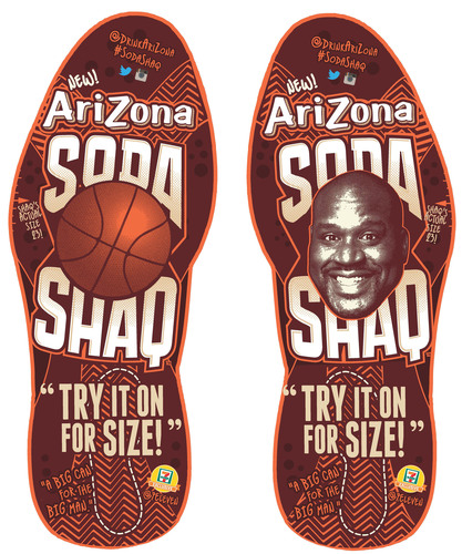 'Try It On For Size' - 7-Eleven customers are invited to take a photo of their feet inside Shaquille O'Neal's size 23 footprints replicated as decals on 7-Eleven store floors.  They can upload photos for a chance to win Shaq swag.  (PRNewsFoto/7-Eleven, Inc.)