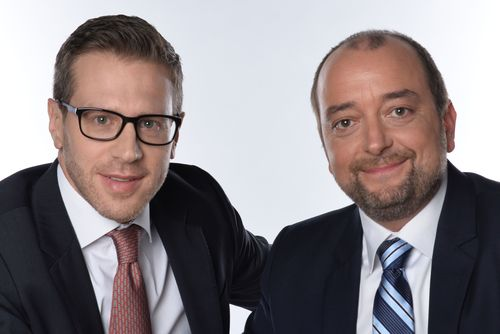 The two founders and board directors of Dolphin Technologies, Harald Trautsch (l.) and Thomas Poschl (r.), buy back the majority holding of shares together with investors. Copyright: Dolphin Technologies (PRNewsFoto/PR NEWSWIRE EUROPE)