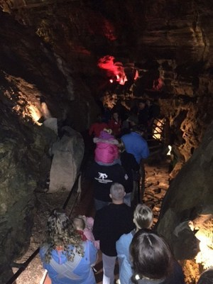 Wounded Warrior Project Alumni and their families explore the depths of Howe Caverns during an Alumni program event.