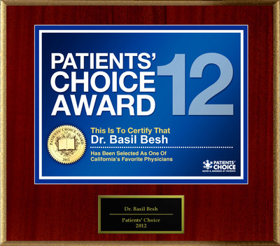 Dr. Besh of Fremont, CA has been named a Patients' Choice Award Winner for 2012.  (PRNewsFoto/American Registry)