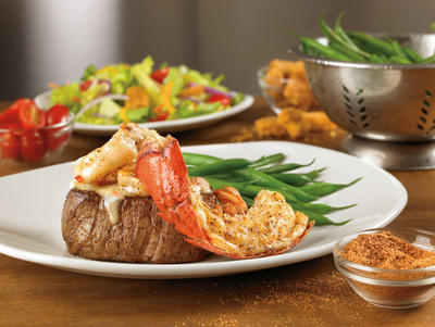 Starting today, Outback Steakhouse(R) will offer decadent, yet affordable options with the new Topped Steaks promotion featuring Lobster & Shrimp Topped Victoria's Filet and Crab Topped Outback Special Sirloin. The signature sirloin and juicy filet with savory toppings will be available nationwide until January 15, 2013 starting at only $12.99.  (PRNewsFoto/Outback Steakhouse)