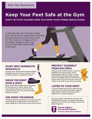 Don't let foot injuries keep you from your fitness resolutions - follow these tips from the American College of Foot and Ankle Surgeons.