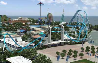This artist rendering shows how Cedar Point's newest winged coaster, GateKeeper, will send riders on an exhilarating journey and dramatically change the park's front entrance in 2013.