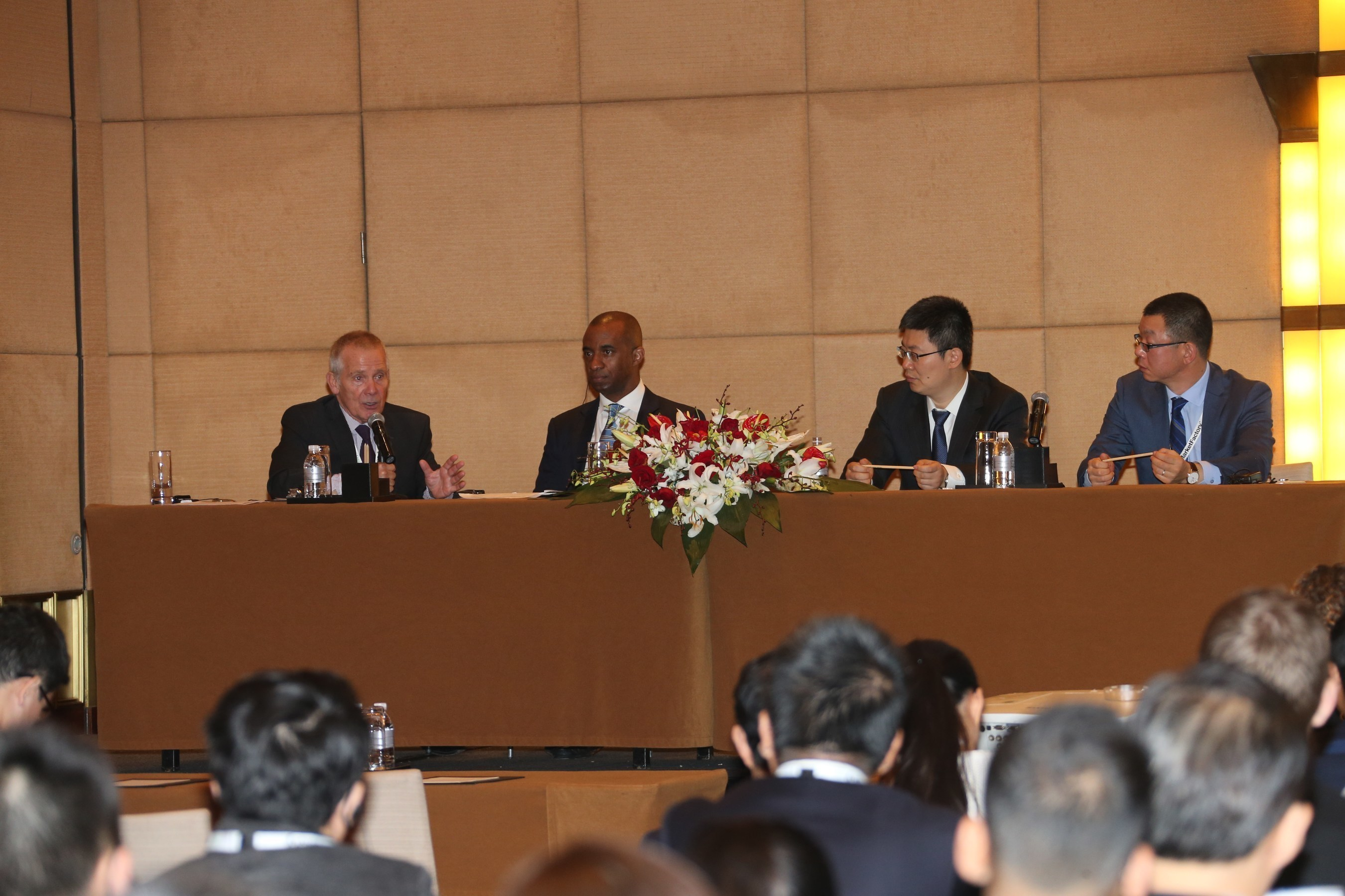 Shawn Baldwin (2nd from left), global investments advisor and Chairman of AIA Group, shares his views on the various factors that could potentially impact Chinese currency and monetary policy at Profit & Loss Shanghai 2015 on a panel with (from left) David Clark, Chairman, Wholesale Markets Brokers Association; Zhang Shengju, General Manager, China Foreign Exchange Trade System; and Fu Qing, Head of FX Trading, Financial Markets, Standard Chartered Bank, China.