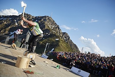 In the Champions Trophy the athletes have to compete in four disciplines with the axe and saw without a break. In his favorite event, the Underhand Block Chop, Australian Brayden Meyer showed his skills in front of about 1,300 spectators on the sold-out Harschbichel mountain station above St. Johann in Tyrol, Austria. Picture credit: STIHL TIMBERSPORTS(R) Series (PRNewsFoto/STIHL TIMBERSPORTS Series)