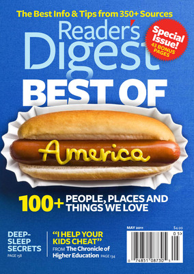 "READER'S DIGEST REVEALS ""THE BEST OF AMERICA"" -- FROM PEOPLE TO WATCH TO MUST-VISIT TOWNS -- IN MAY ISSUE, RD.COM AND IPAD APP.  (PRNewsFoto/Reader's Digest)"