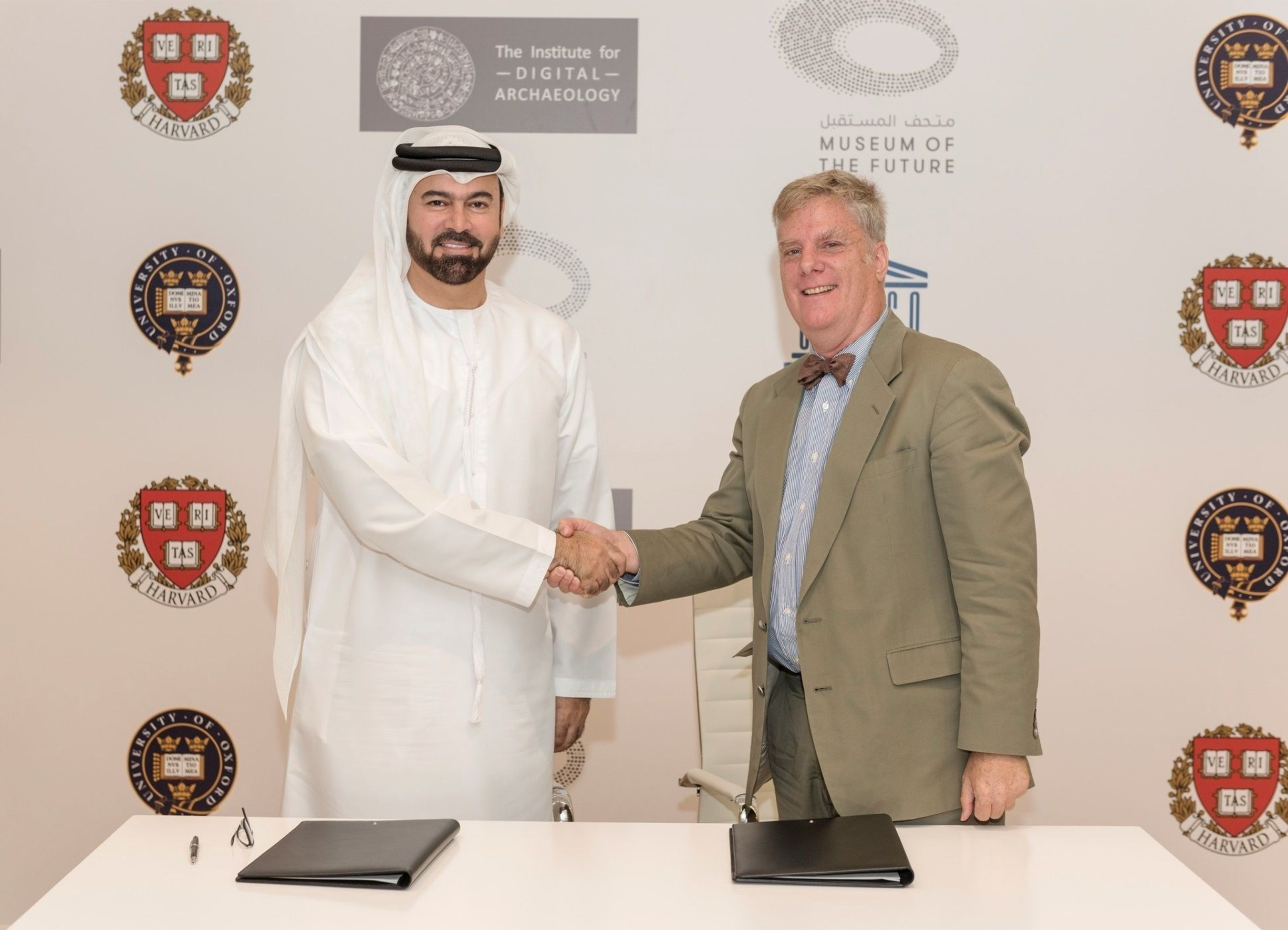 HE Mohammed Al Gergawi , Vice Chairman of Dubai Museum Of The Future Foundation and Roger Michael , Executive Director Of The Institute Of the Digital Archaeology (PRNewsFoto/Dubai Museum of the Future) (PRNewsFoto/Dubai Museum of the Future)