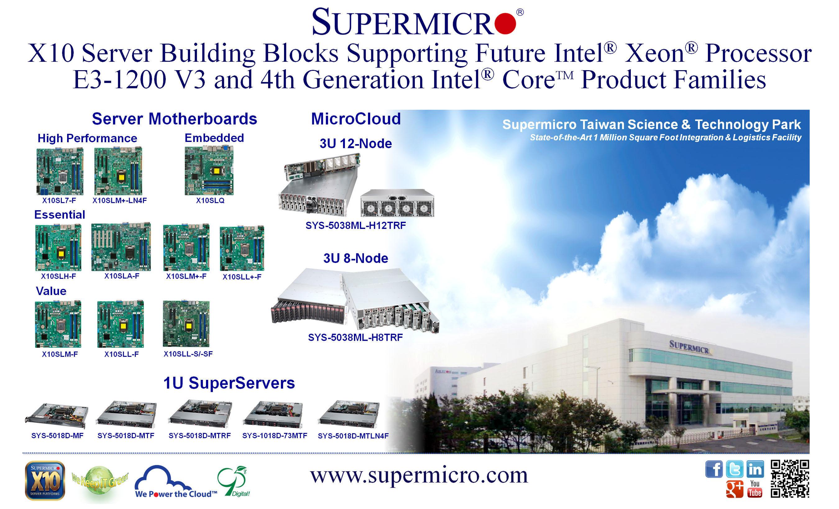 Supermicro® anuncia los X10 Server Building Blocks compatibles con los procesadores Intel® Haswell
