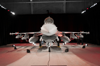 The Republic of Iraq's first F-16 Fighting Falcon on display at Lockheed Martin's Fort Worth, Texas, facility. (PRNewsFoto/Lockheed Martin Aeronautics Co.)