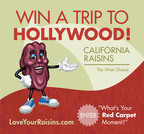 Learn how to win a trip to Hollywood, California at LoveYourRaisins.com.  (PRNewsFoto/California Raisin Marketing Board)