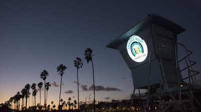 "As part of Covered California's ""Spotlight on Coverage"" statewide bus tour to raise awareness on the open enrollment period, iconic landmarks and buildings across the state are being lit up with Covered California's logo and colors. Here is a lifeguard tower on the Central Coast on Wednesday Nov. 4, 2015."