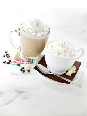 Krispy Kreme(R) is adding the creamy flavor and silky smoothness of Ghirardelli(R) White Chocolate Sauce to your favorite caffeinated and uncaffeinated beverages.   Krispy Kreme White Chocolate Mocha and White Hot Chocolate are available now through April 21 at participating US Krispy Kreme locations.  (PRNewsFoto/Krispy Kreme Doughnut Corporation)