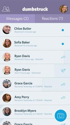Dumbstruck - messages screen.  (PRNewsFoto/Doctored Apps)