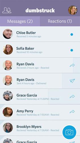 Dumbstruck - messages screen. (PRNewsFoto/Doctored Apps) (PRNewsFoto/DOCTORED APPS)