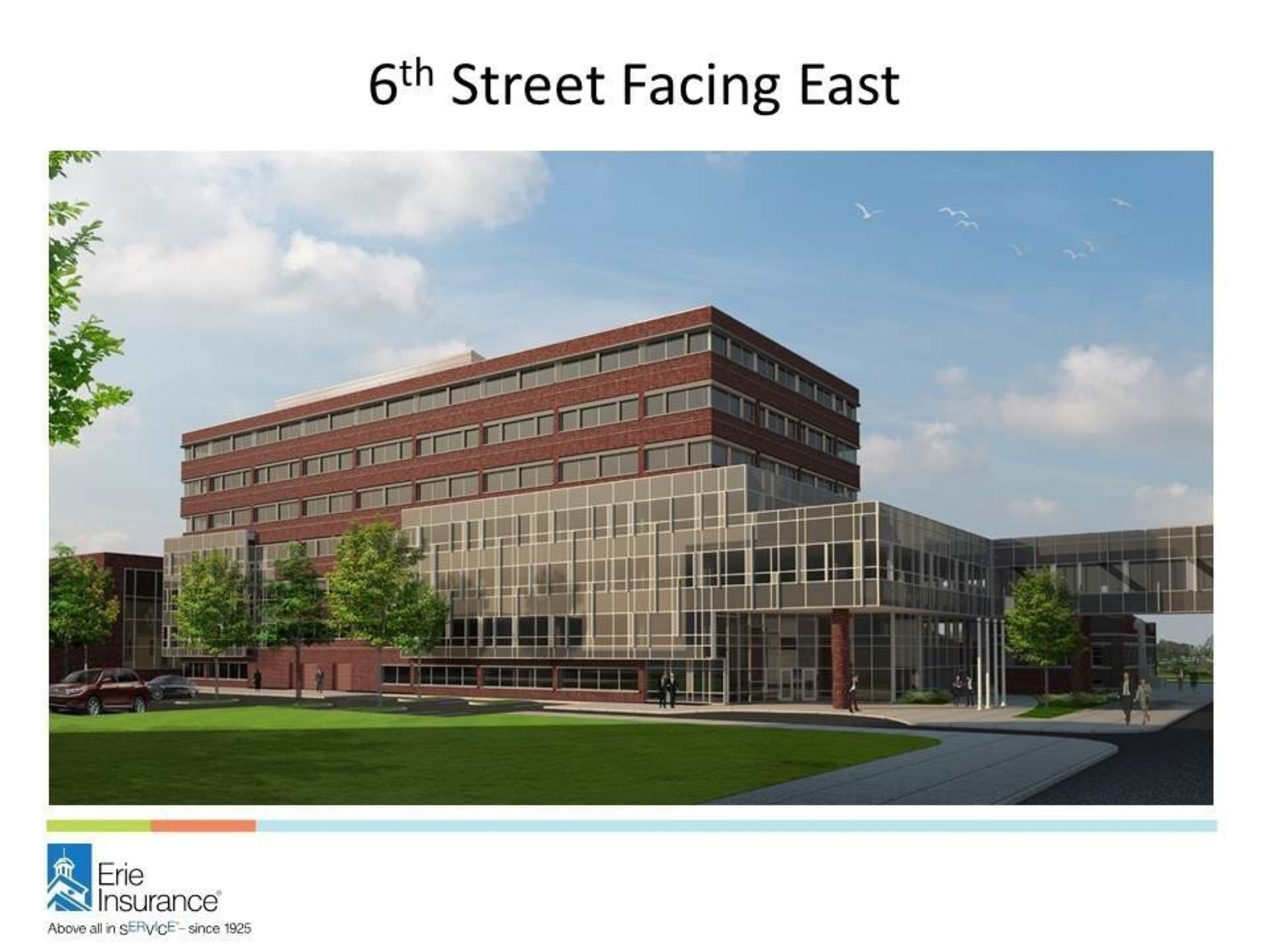 Erie Insurance will build a new office building on its existing home office campus in downtown Erie, Pa. Construction is expected to begin in spring 2017, and last about three years.