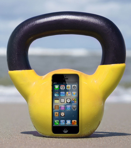 The Marware KettleBell Case for the iPhone 5 is the world's heaviest iPhone case and burns calories with every call.  (PRNewsFoto/Marware, Inc.)