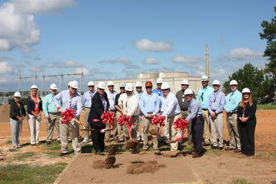 Leaders from Plant Hatch and J.M. Miles Construction break ground for the new site energy education center. Construction is scheduled to be completed in June 2016.