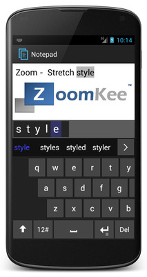 ZoomKee Keyboard - An innovative way to type on android smartphones.  (PRNewsFoto/Entropy Wrap LLC)