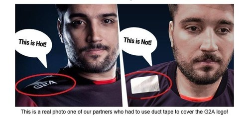 This is a real photo one of our partners who had to use duct tape to cover the G2A logo (PRNewsFoto/G2A.com)