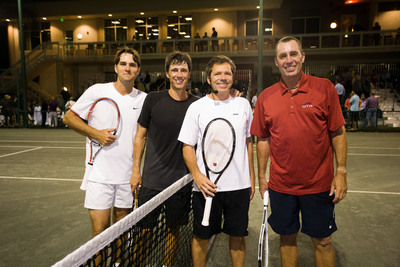 Ivan Lendl, eight-time Grand Slam champion joined fellow former world ranked tennis super stars Aaron Krickstein and Jimmy Arias for a tennis exhibition exclusively for the members of St. Andrews Country Club. The crowd of 600 was treated to world-class tennis and light hearted banter spearheaded by Brett Haber, renowned top tennis analyst and commentator. St. Andrews members then supported Krickstein, their long-time Director of Tennis as he finished 3rd in the ATP Champions Tour on Monday, February 25. (L to R) Simon Evelyn, Aaron Krickstein, Jimmy Arias and Ivan Lendl.  (PRNewsFoto/St. Andrews Country Club)