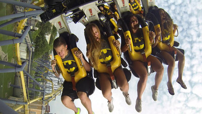 Riders experience a gravity-defying role reversal this summer when BATMAN(TM): The Ride runs backwards through Labor Day at Six Flags Great Adventure.