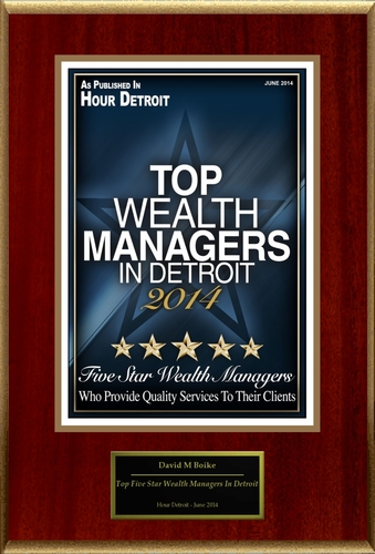 """David M Boike Selected For """"Top Five Star Wealth Managers In Detroit"""" (PRNewsFoto/American Registry)"""