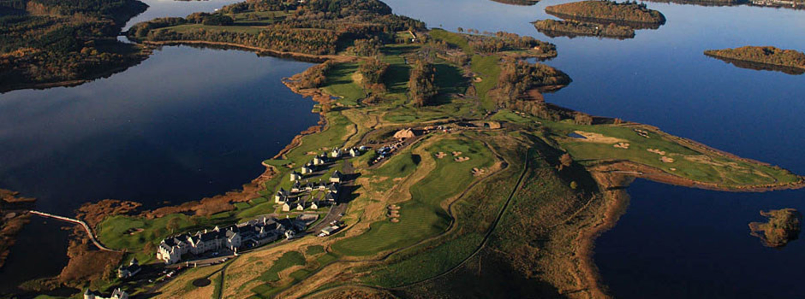 AERIAL VIEW OF LOUGH ERNE RESORT, LUXURY HOTEL AND GOLF RESORT IN NORTHERN IRELAND
