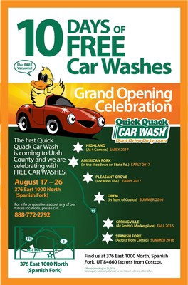 10 Days of Free Car Washes at New Quick Quack Car Wash in Spanish Fork. More Locations Coming Soon!