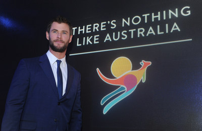 "Chris Hemsworth is named the new global ambassador for Tourism Australia's ""There's Nothing Like Australia"" Coastal and Aquatic campaign, showcasing the country's world-class beaches, aquatic and coastal experiences, during an event on the eve of Australia Day, Monday, Jan. 25, 2016, in New York.  (Photo by Diane Bondareff/Invision for Tourism Australia/AP Images)"