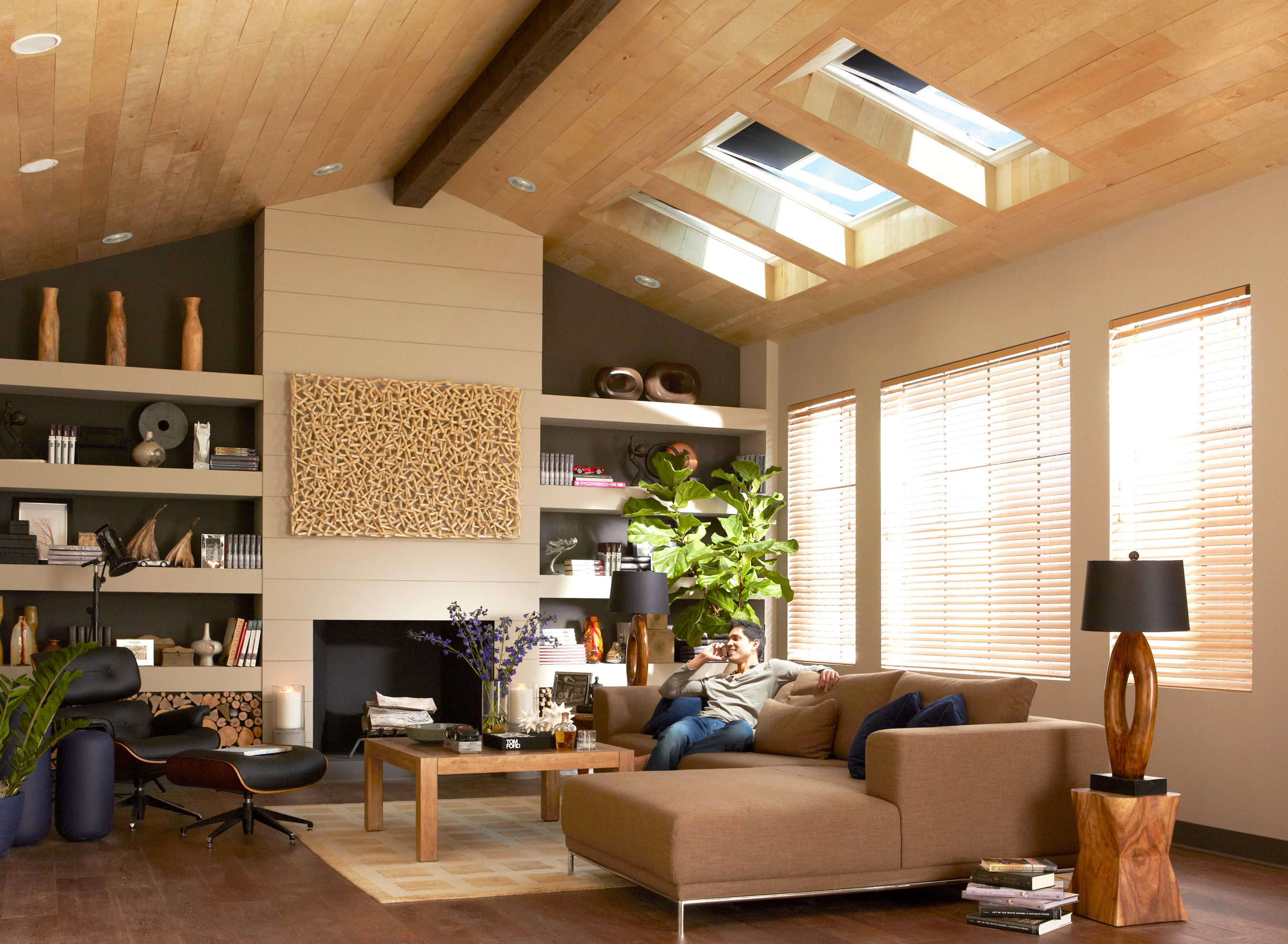 Energy Star-qualified solar powered fresh air skylights, with decor-enhancing solar powered designer blinds, add drama to any room while providing abundant natural light, passive ventilation and privacy. Both skylights and blinds are operated by remote control and are eligible for a 30 percent Federal tax credit, as are installation costs. (PRNewsFoto/VELUX)