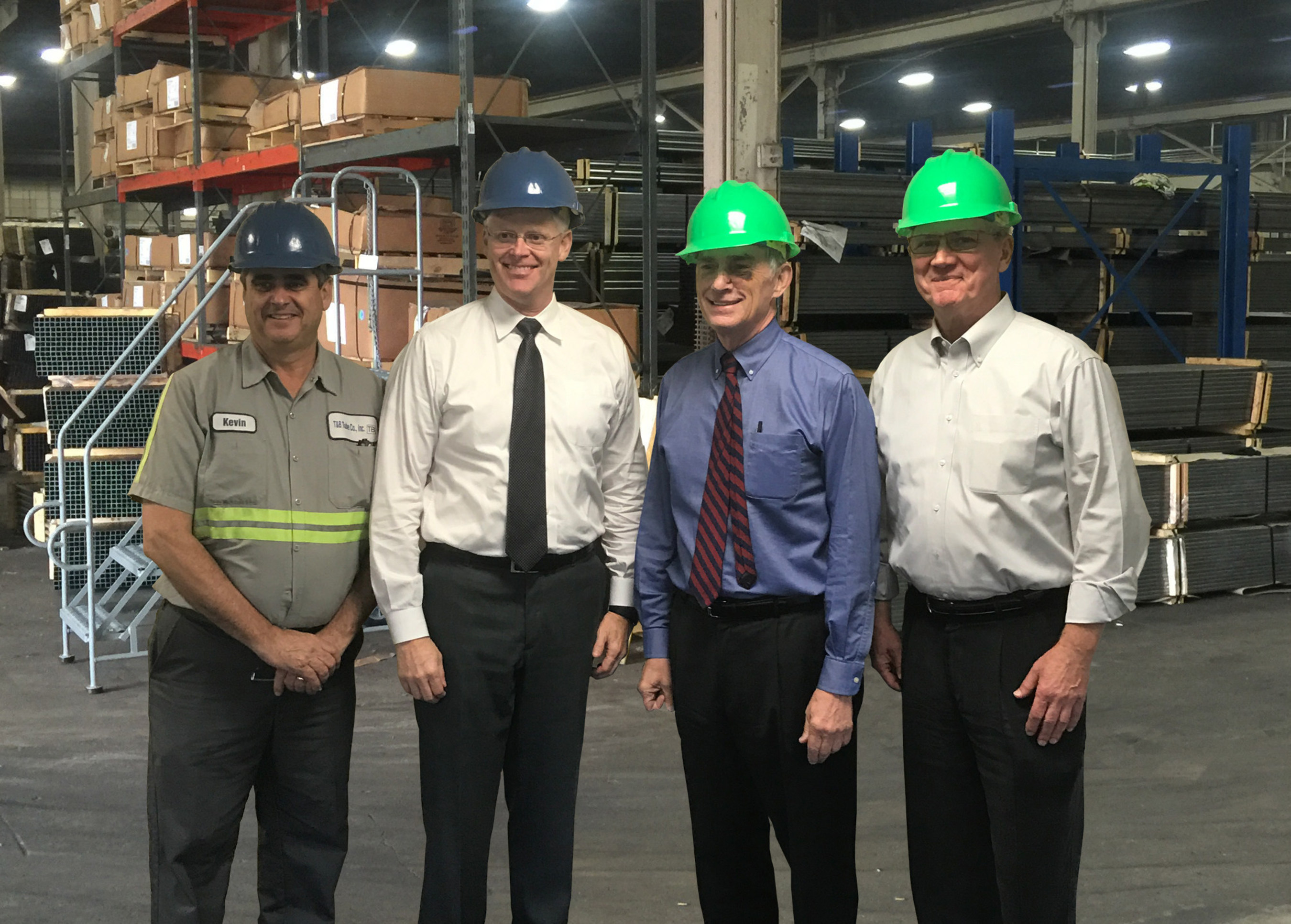 Indiana Congressman Pete Visclosky welcoming T&B Tube to Gary, Indiana - (pictured here from left to right: Kevin Barker - Operations Manager, Jack Jones - President of T&B Tube, Representative Pete Visclosky, and Patrick Lee of LEE Companies) photo credit: T&B Tube
