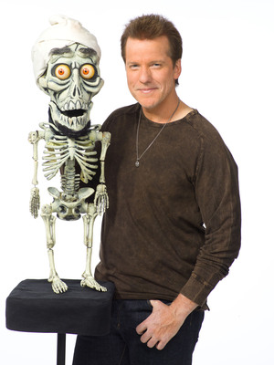 Comedian and Ventriloquist Jeff Dunham, pictured with one of his signature characters, the bumbling skeletal Achmed the Dead Terrorist, collaborated with Mopar and the Street and Racing Technology (SRT) team to create a custom 2012 Dodge Challenger SRT8.   (PRNewsFoto/Chrysler Group LLC)